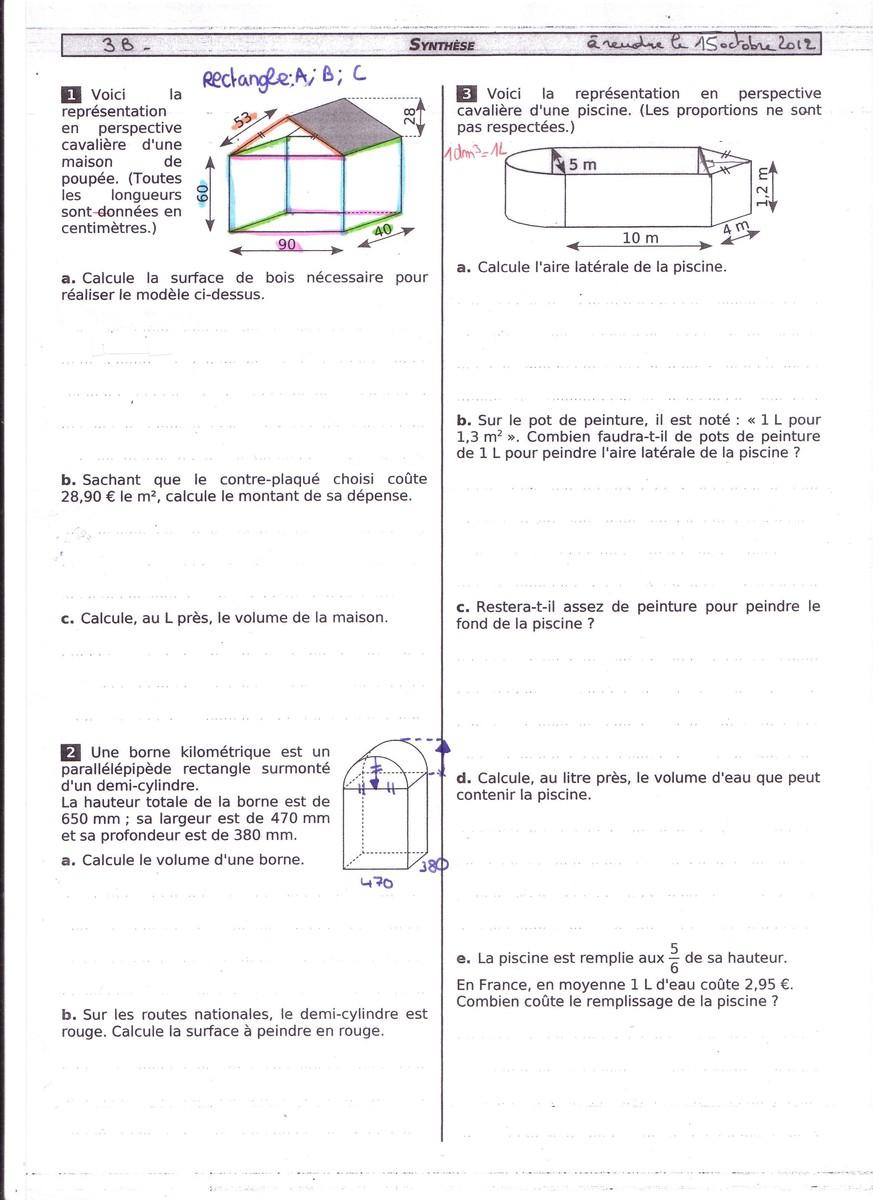 Geometrie,3Ème] Dm Pour Le 19 Octobre ! Bonjour Les ... pour Calcul M3 Piscine