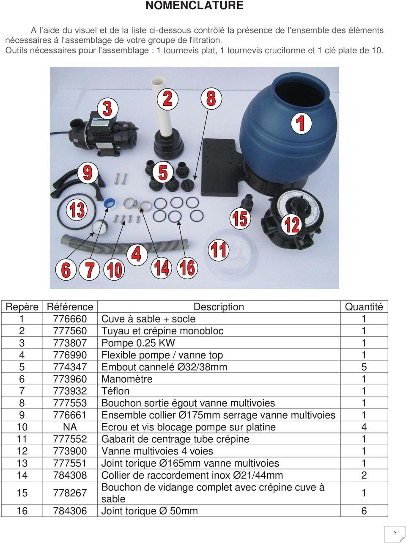 Groupe De Filtration Sunbay. Notice D Installation Et D ... concernant Filtre A Sable Piscine Mode D Emploi