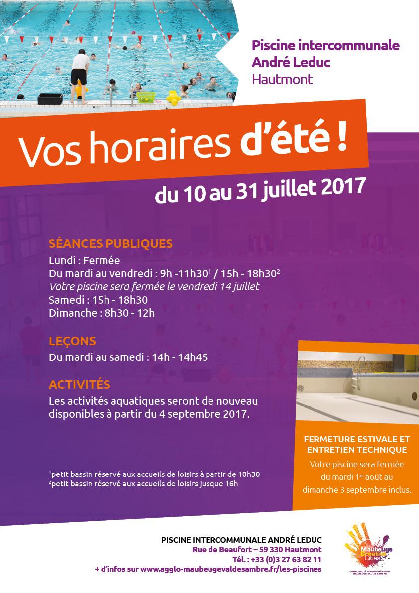 Horaires-Ete-2017-Piscine-Hautmont - Agglo Maubeuge-Val De ... à Piscine Hautmont