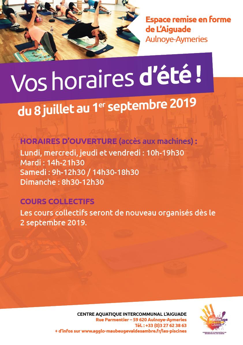 Horaires-Ete-2019-Piscine-Espace-Remise-Forme - Agglo ... destiné Piscine Aulnoye Aymeries