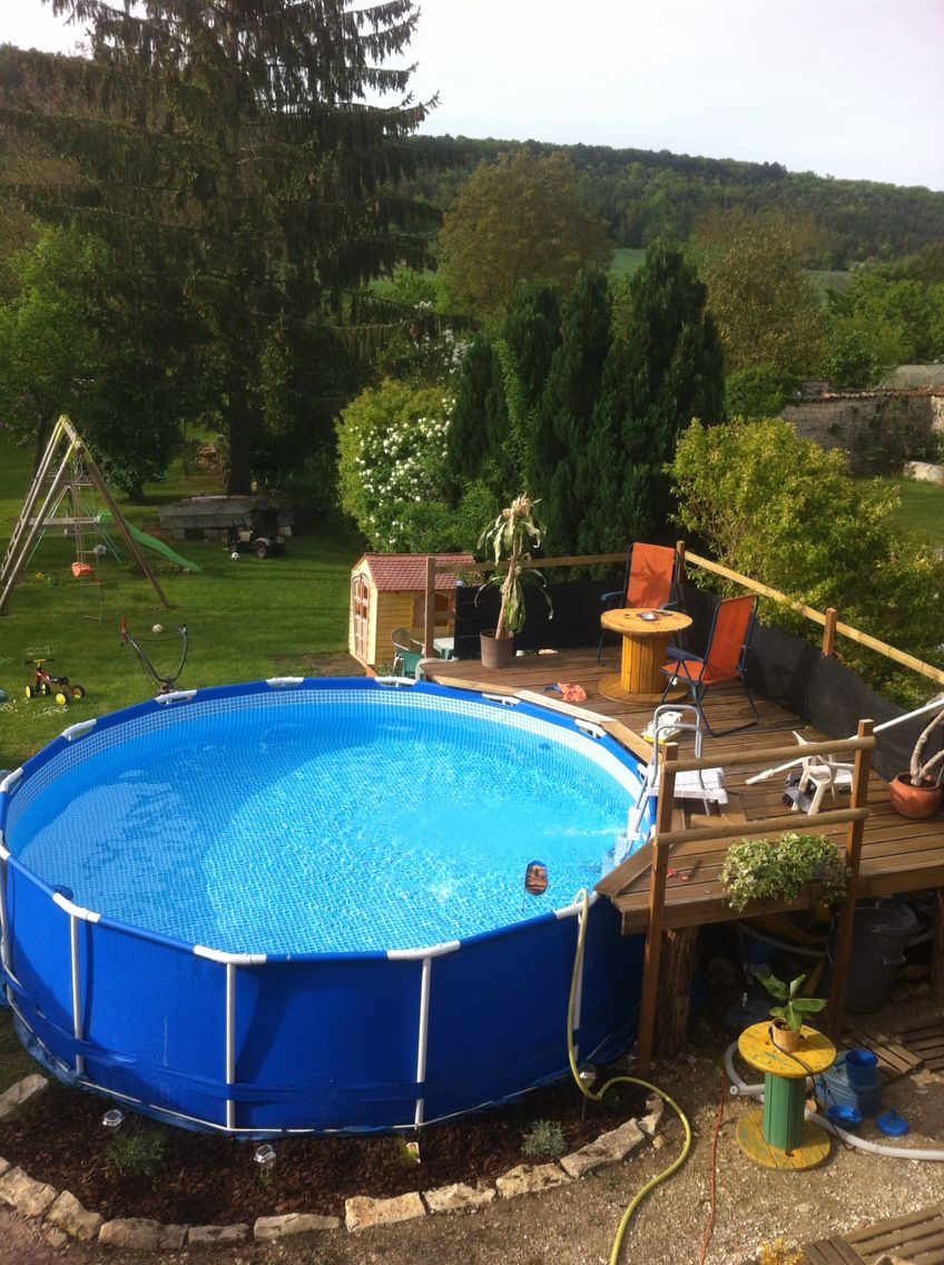 Idée Aménagement Terrasse Pour Piscine Hors-Sol | Swimming ... pour Aménagement Autour D Une Piscine Hors Sol