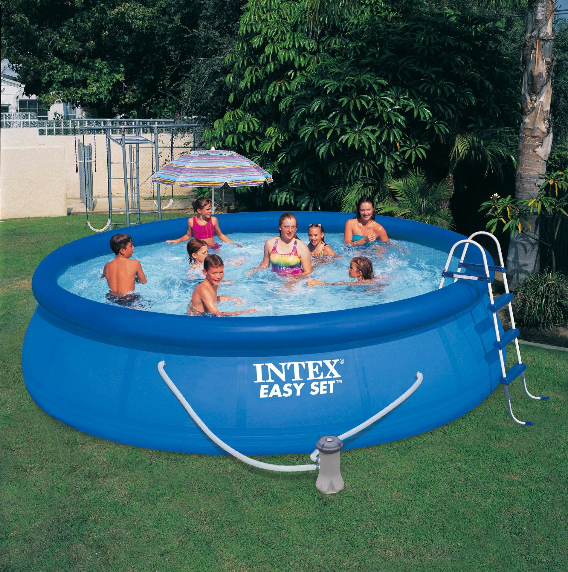 "Intex 16' X 42"" Easy Set Pool (W/ Filter Pump, Ladder ... avec Piscine Intex 3.66"