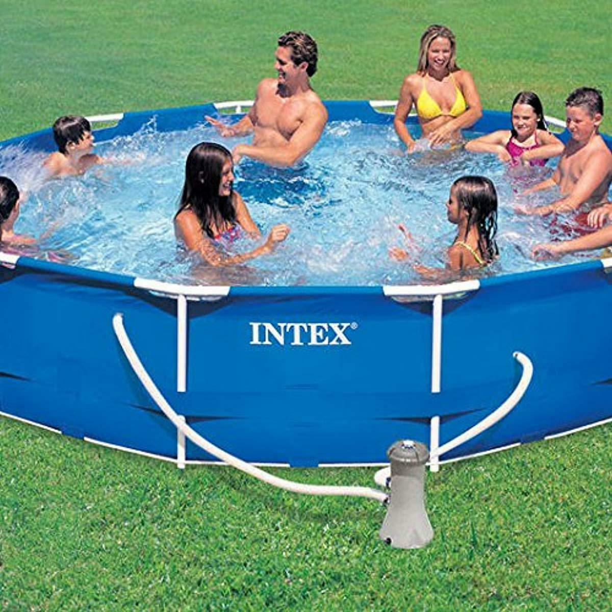 Intex Kit Piscine Tubulaire Ronde 3M66 X 76 Cm, 6500 Liters ... concernant Piscine Tubulaire Intex Ronde