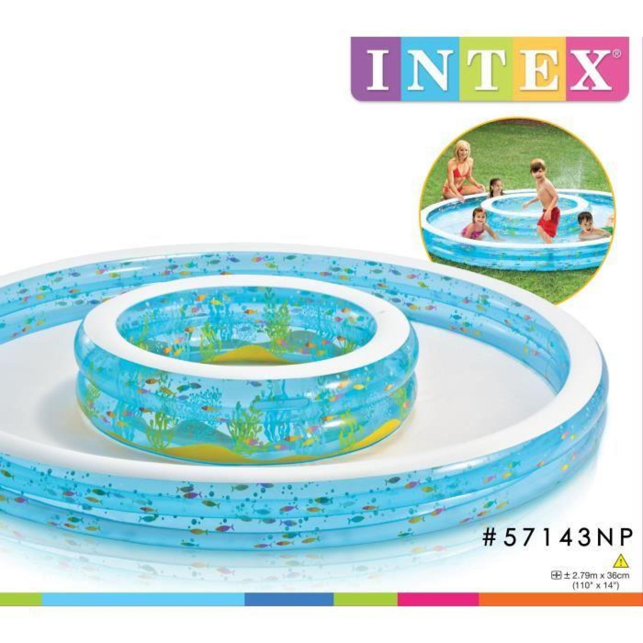Intex Piscine 2 Tailles Gonflable À Débordement Enfant / Famille Double  Fontaines 279 X 36 Cm Avec Jets D'eau intérieur Piscine Intex Enfant