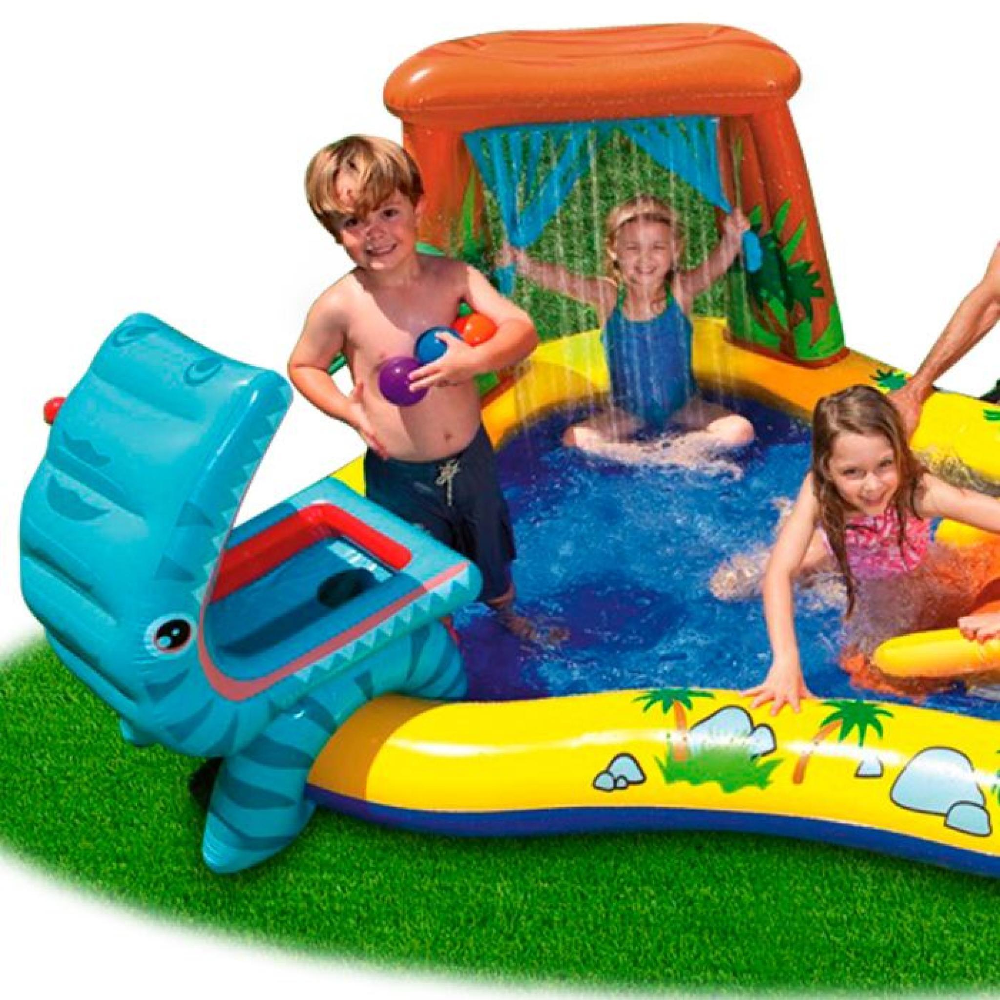 Intex Piscine Gonflable Enfant / Aire De Jeux Aquatique 297 X 193 X 135 Cm  Rainbow Avec Toboggan, Sprayer, Anneaux Gonflables Et Bal à Aire De Jeux Gonflable Piscine
