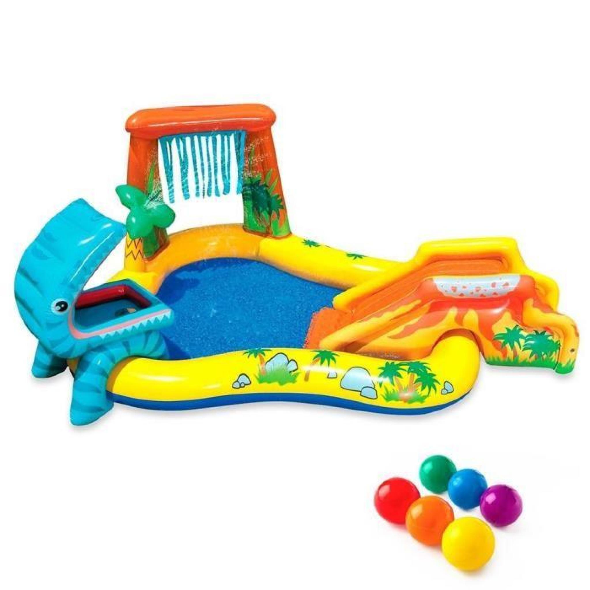 Intex Piscine Gonflable Enfant / Aire De Jeux Aquatique 297 X 193 X 135 Cm  Rainbow Avec Toboggan, Sprayer, Anneaux Gonflables Et Bal avec Piscine Enfant Pas Cher