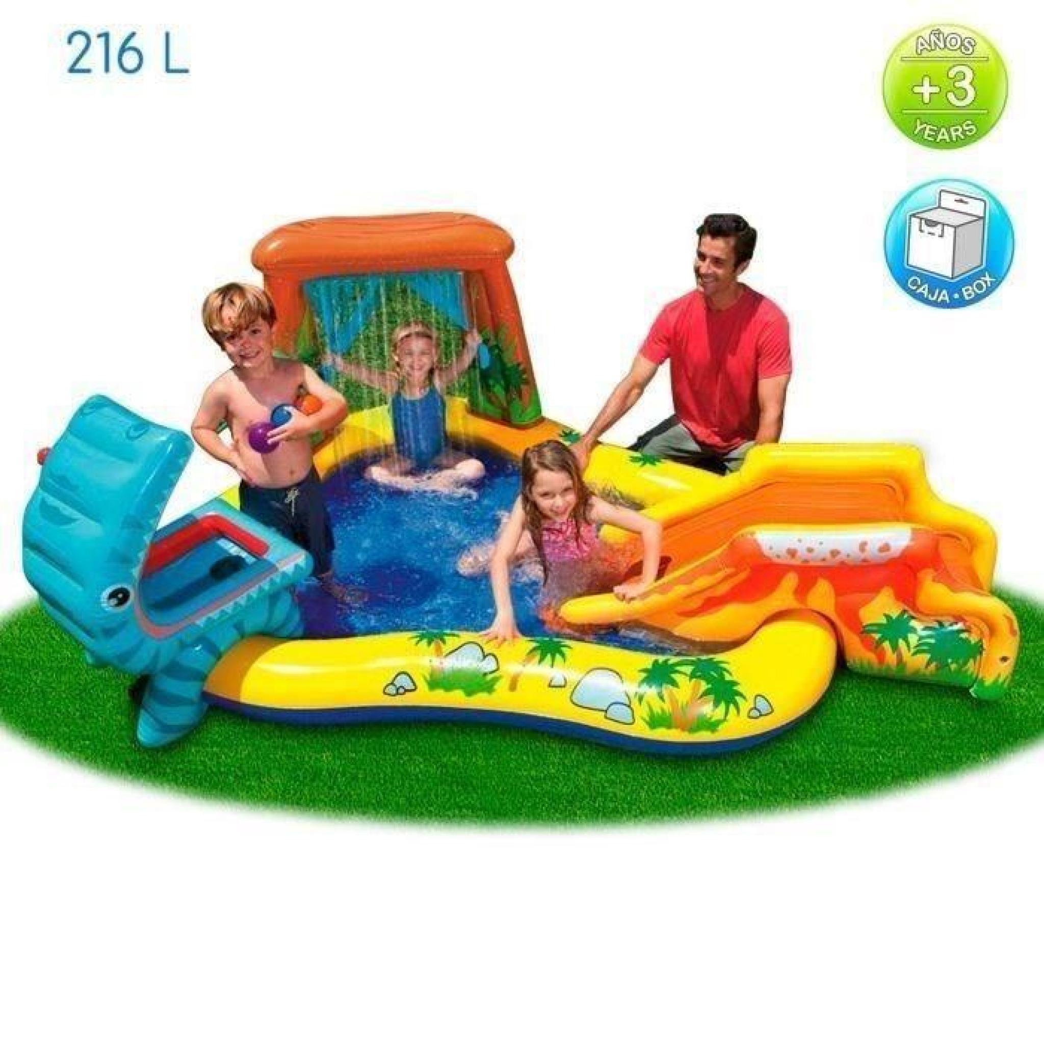 Intex Piscine Gonflable Enfant / Aire De Jeux Aquatique 297 X 193 X 135 Cm  Rainbow Avec Toboggan, Sprayer, Anneaux Gonflables Et Bal pour Piscine Enfant Pas Cher