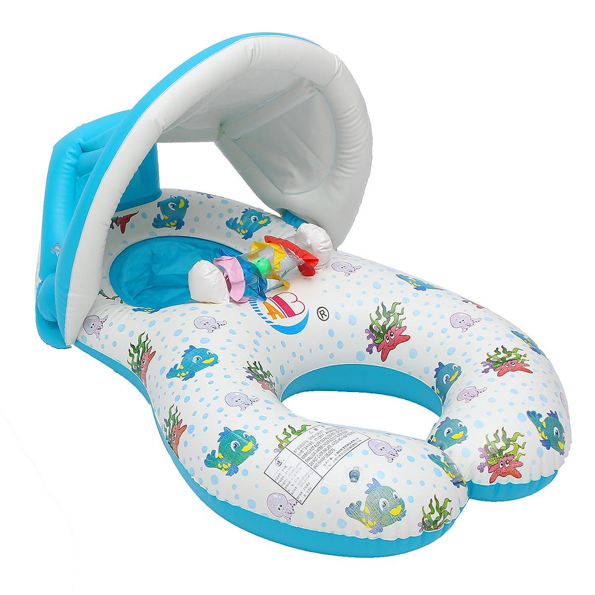 Ipree ™ Gonflable Mère Bébé Bague De Natation Piscine Natation Eau Siège  Flotteur Avec Canopée Parasol concernant Piscine Avec Siege
