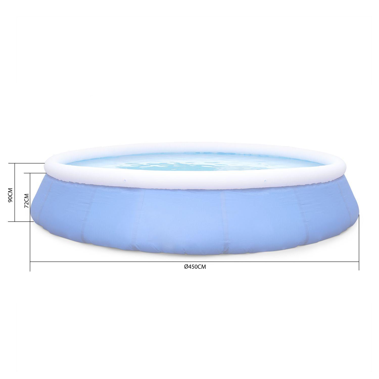 Kit Piscine Emeraude ⌀450X90Cm Gonflable Bleue ... intérieur Piscine Autoportée Ovale