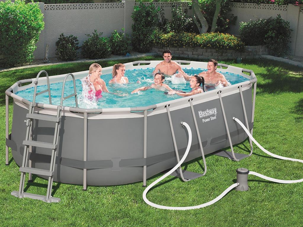 Kit Piscine Tubulaire Bestway Power Steel Frame Pool Ovale 427X250X100Cm destiné Centrakor Piscine