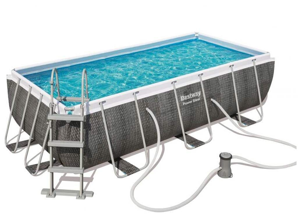 Kit Piscine Tubulaire Bestway Power Steel Rectangulaire 404X201X100Cm  Aspect Tressé Gris concernant Piscine Hors Sol Tubulaire Rectangulaire