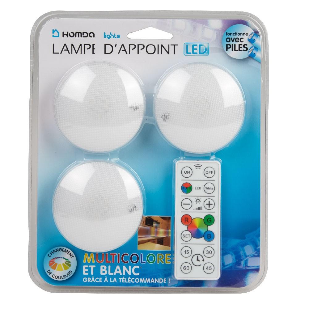 Lampe Led Push On Off X3 pour Eclairage Piscine Sans Fil