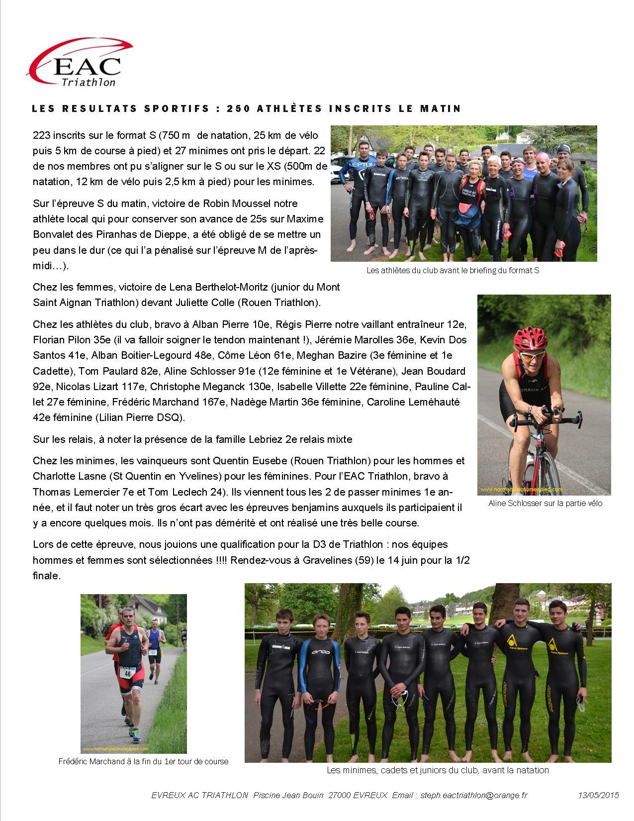 Le Bilan Du 11E Triathlon De La Vallée De L'iton tout Piscine Evreux Jean Bouin