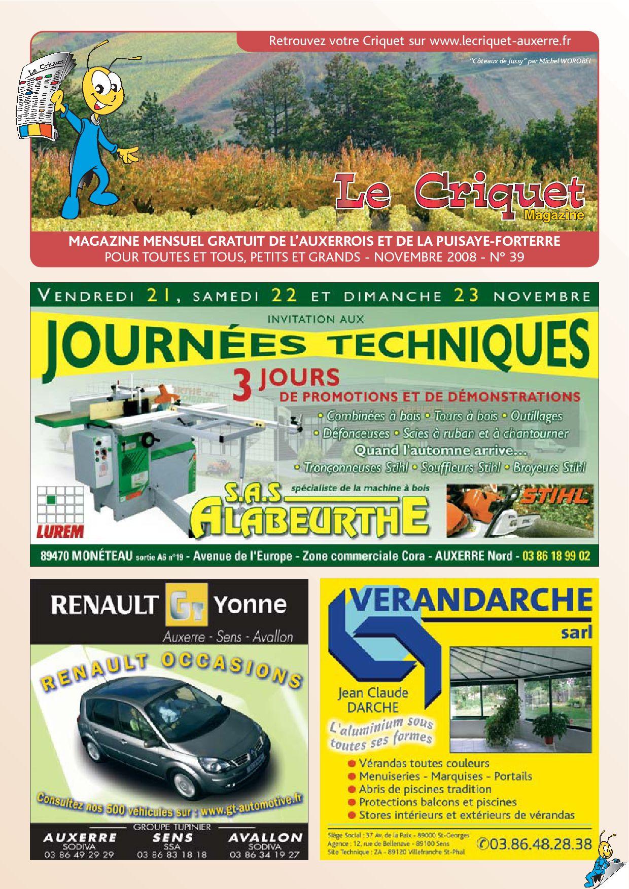 Le Criquet Magazine Auxerrois - Novembre 2008 By Proxilog ... concernant Piscine Avallon
