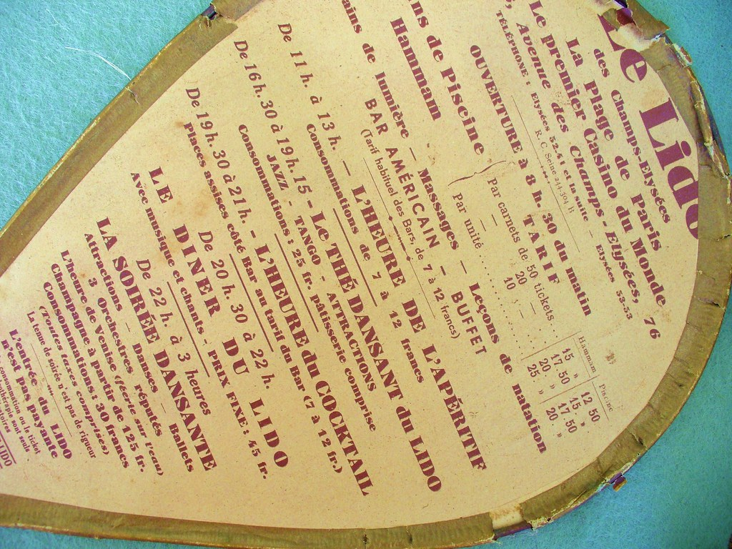 Le Lido Des Champs-Élysées Paris 1940's Vintage Paper Fan ... intérieur Piscine Du Lido
