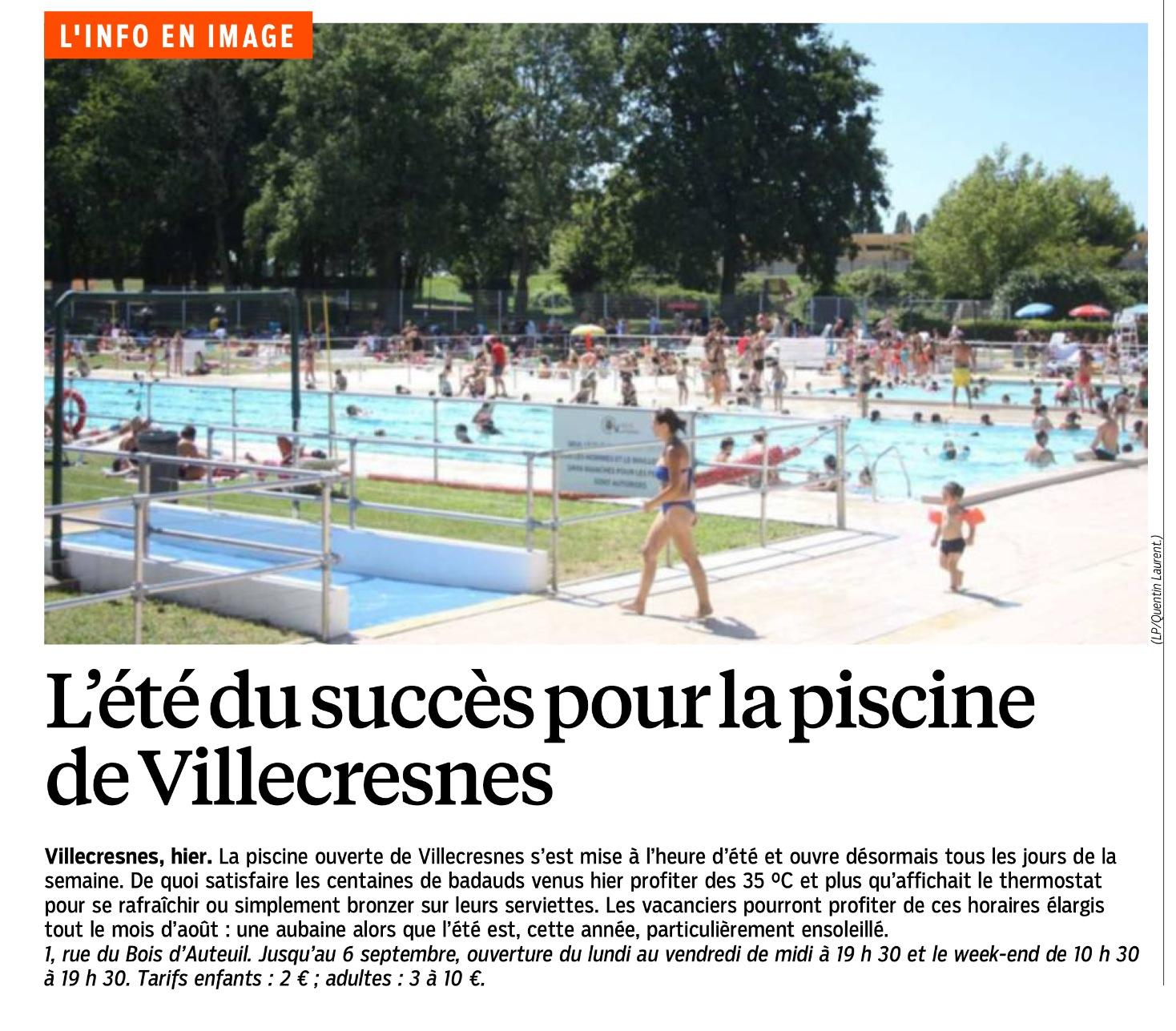 Le Parisien En Parle « L'été Du Succès Pour La Piscine De ... concernant Piscine Villecresnes