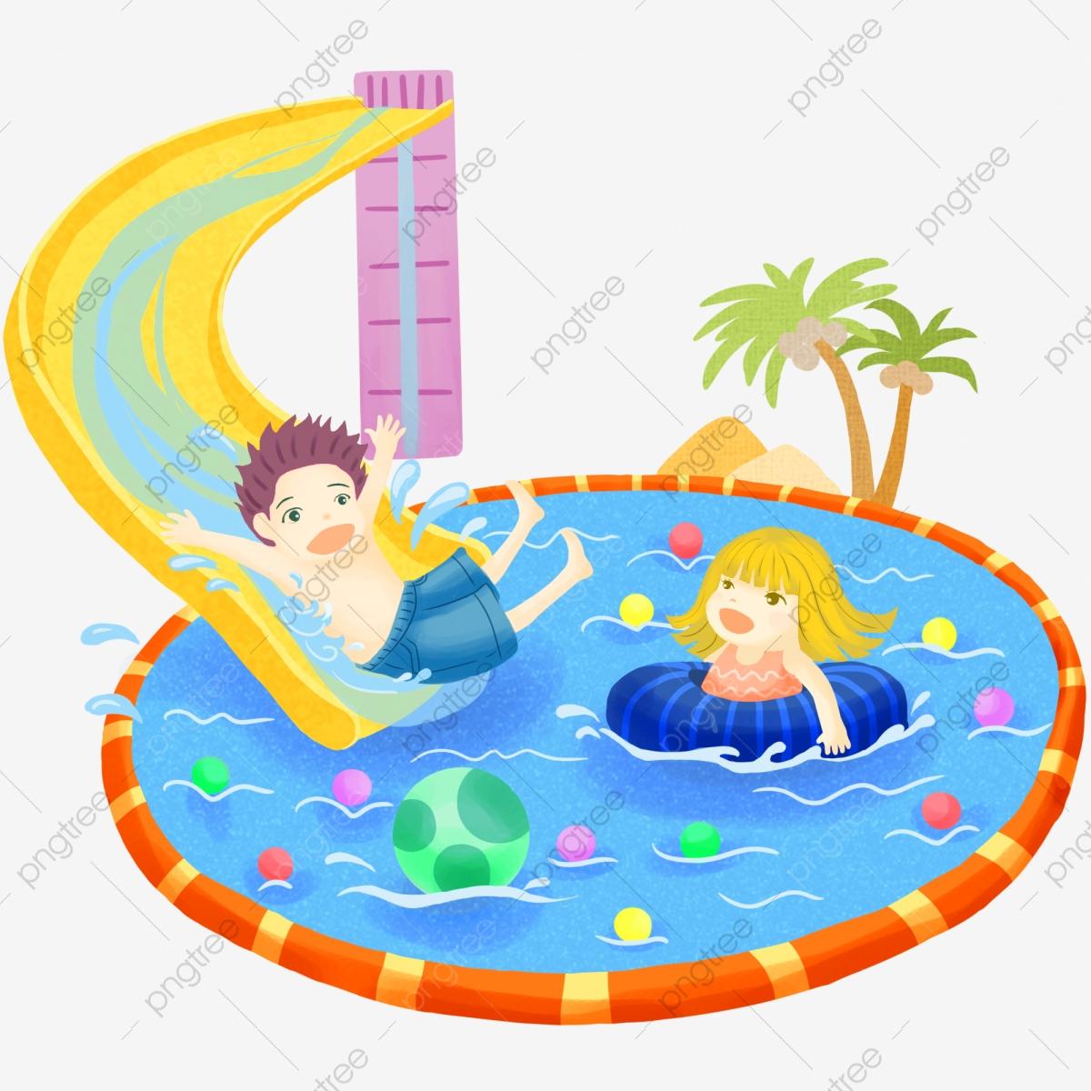 Les Enfants Jouer Dans Le Terrain De Jeu Et Une Piscine De ... tout Jeux De Piscine Gratuit