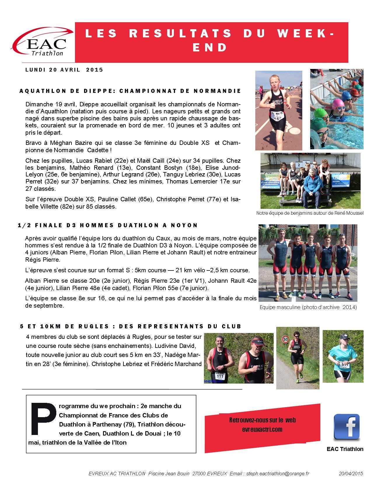 Les Résultats Du Week-End : Aquathlon De Dieppe, Noyon Et 5 ... intérieur Piscine Jean Bouin Évreux