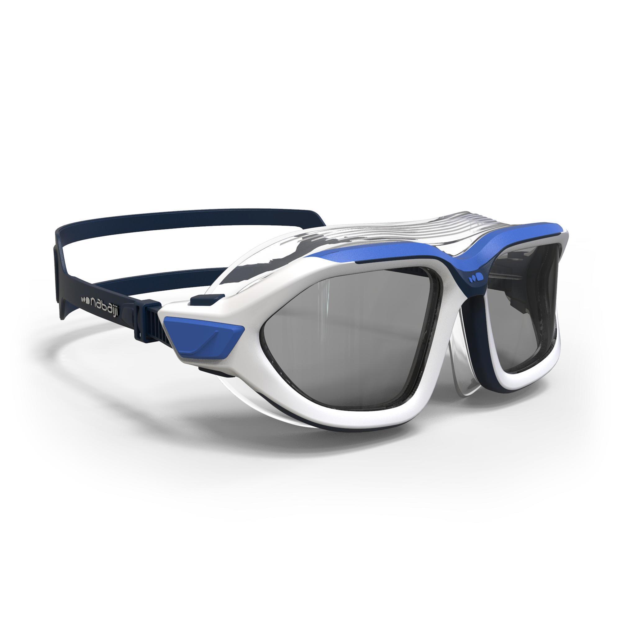 Masque De Natation 500 Active Taille L Blanc Bleu Verres Fumés dedans Velo Piscine Decathlon