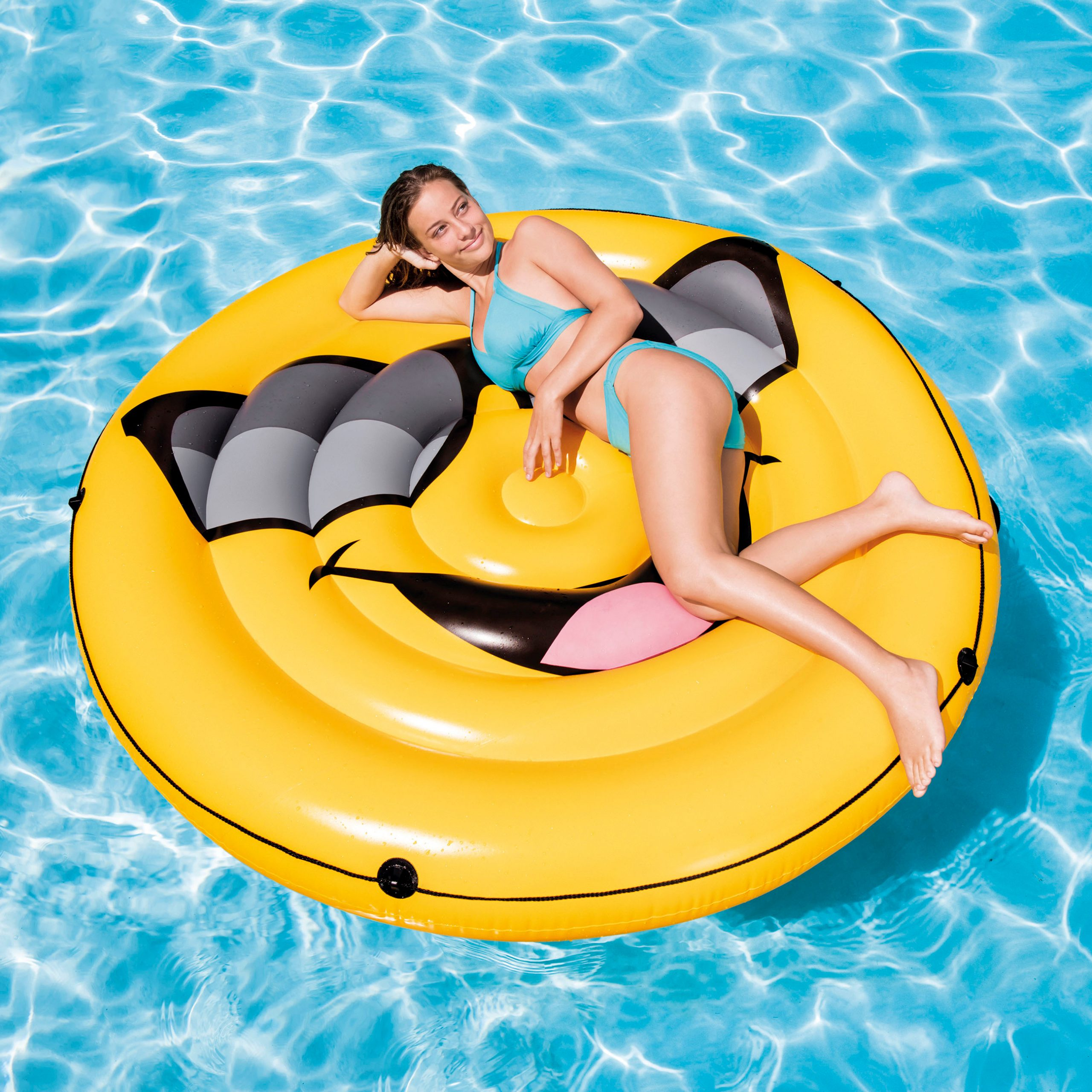 Matelas Île Smiley Gonflable Intex (Ø173Cmx23Cm) destiné Matelas Piscine Intex