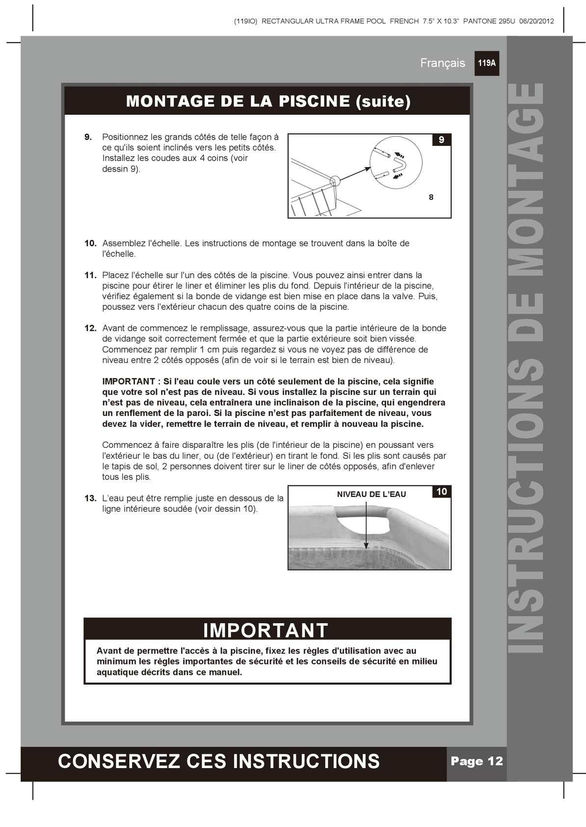 Notice De Montage Piscine Tubulaire Ultra Frame - Calameo ... concernant Vider Piscine