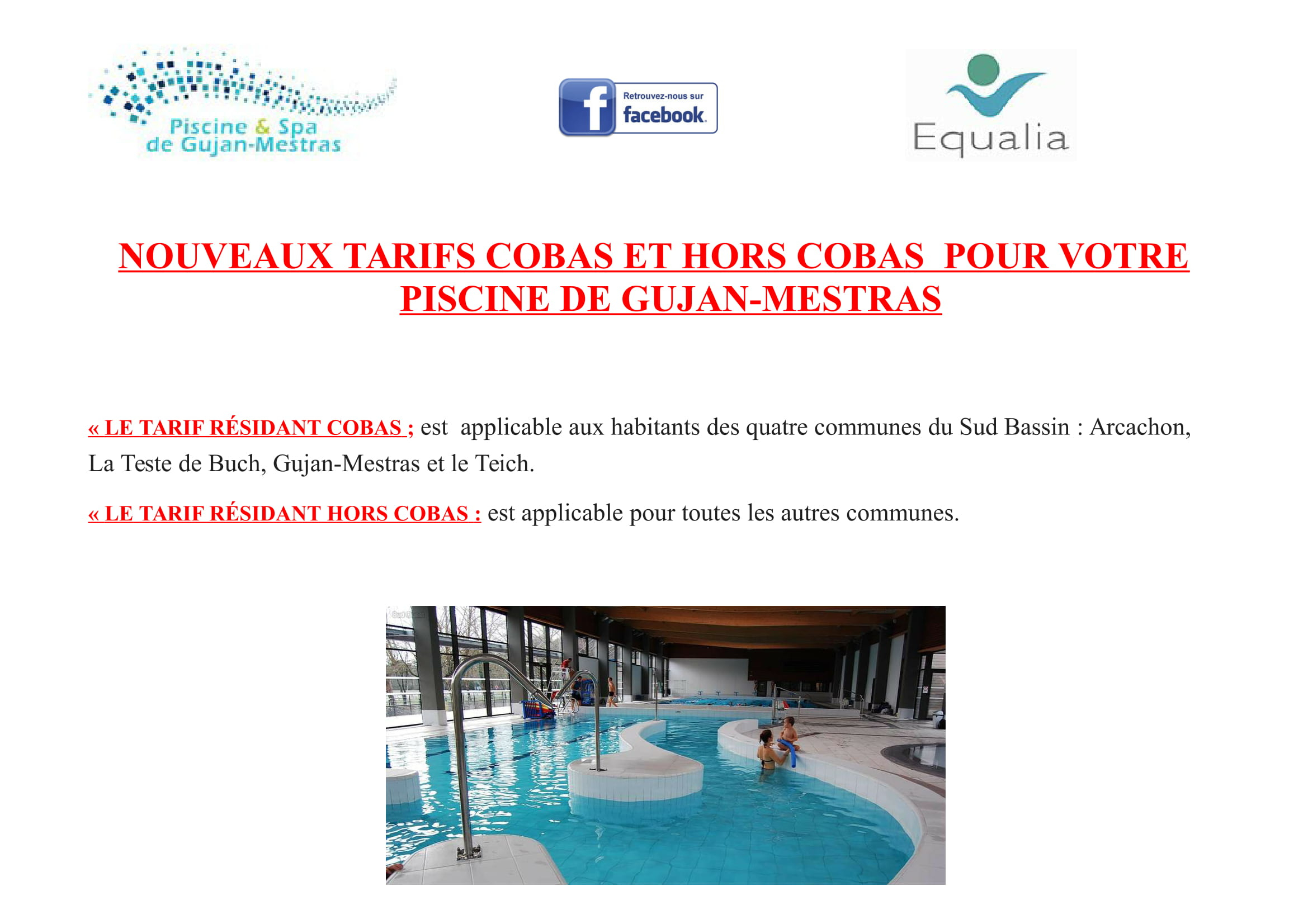 Nouveaux Tarifs Cobas Dans Votre Piscine Et Spa De Gujan ... destiné Piscine Arcachon Horaires