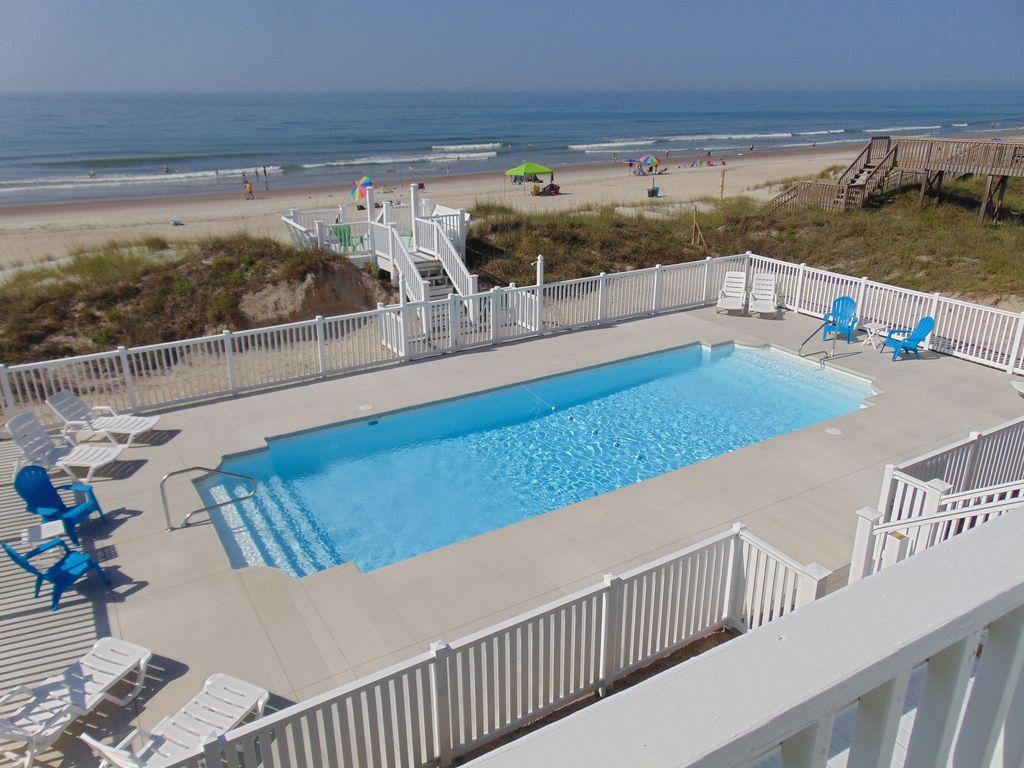 Oceanfront Pool Home (Chaleur De La Piscine Gratuite) / Vues Incroyables /  Super Emplacement / Île D'émeraude - Emerald Isle pour Piscine Emeraude
