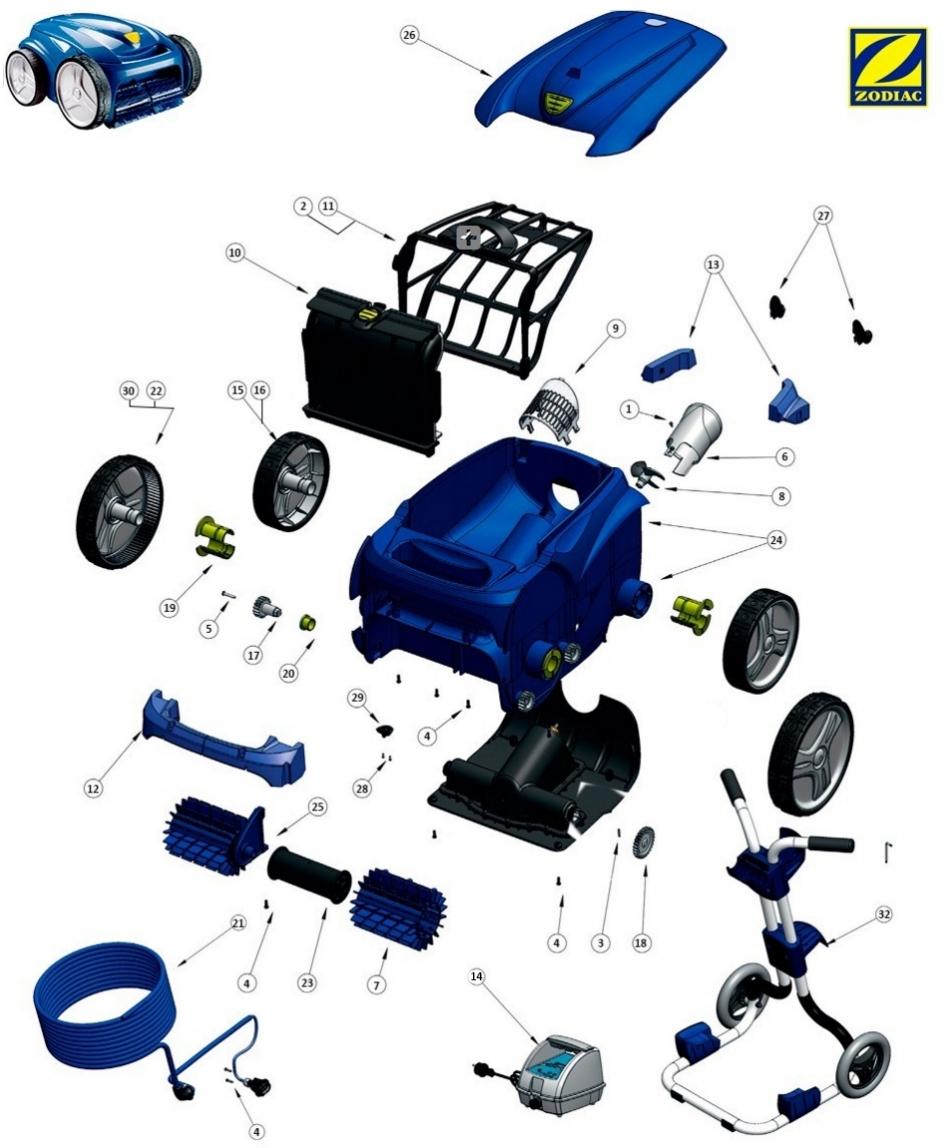 Palier De Roue Pour Robot Piscine Zodiac Vortex Systèmes De ... intérieur Robot Piscine Zodiac Vortex 4