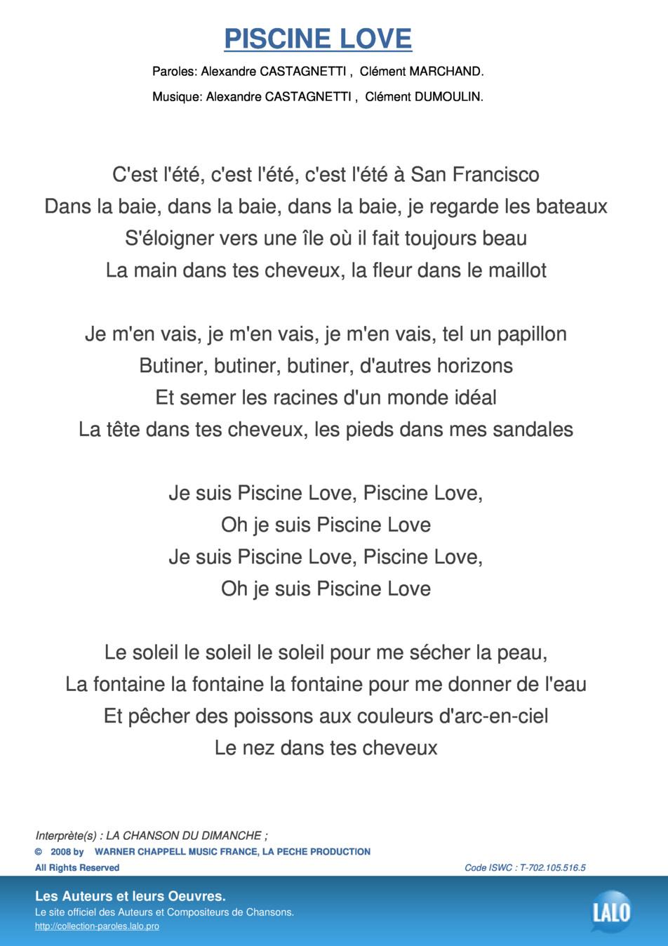 Paroles Et Musique Armelle Dumoulin - Lalo.pro pour Musique Piscine