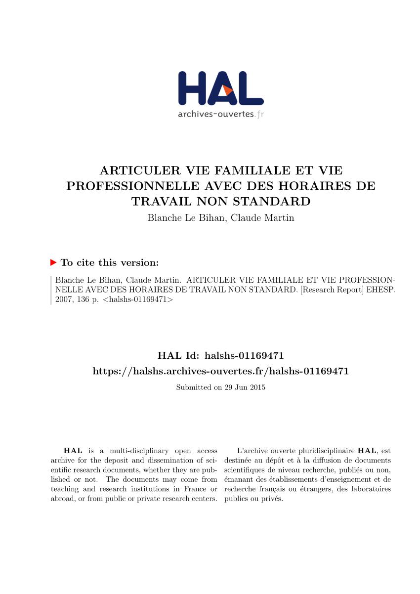 Pdf) Articuler Vie Familiale Et Vie Professionnelle Avec Des ... destiné Dimension Piscine Non Imposable