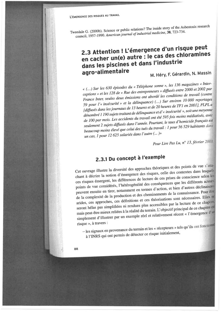 Pdf) Attention L'émergence D'un Risque Peut En Cacher Une ... à Chloramine Piscine