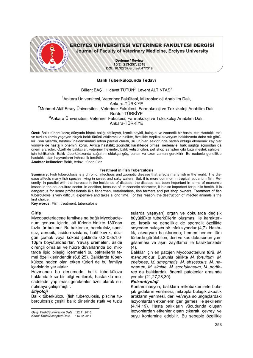 Pdf) Balık Tüberkülozunda Tedavi pour Piscine Menin