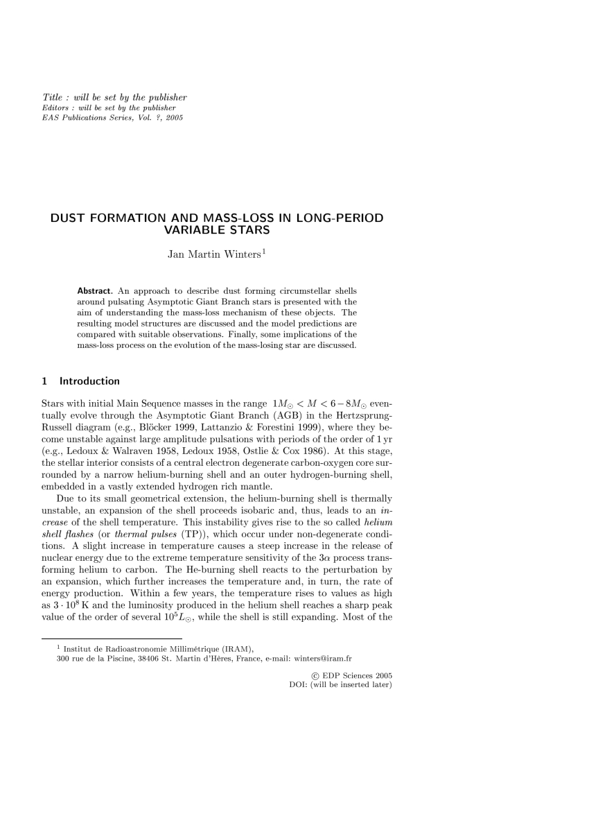 Pdf) Dust Formation And Mass-Loss In Long-Period Variable Stars concernant Formation Pisciniste