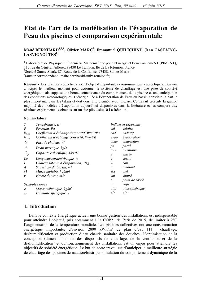 Pdf) Etat De L'art De La Modélisation De L'évaporation De L ... concernant Evaporation Eau Piscine