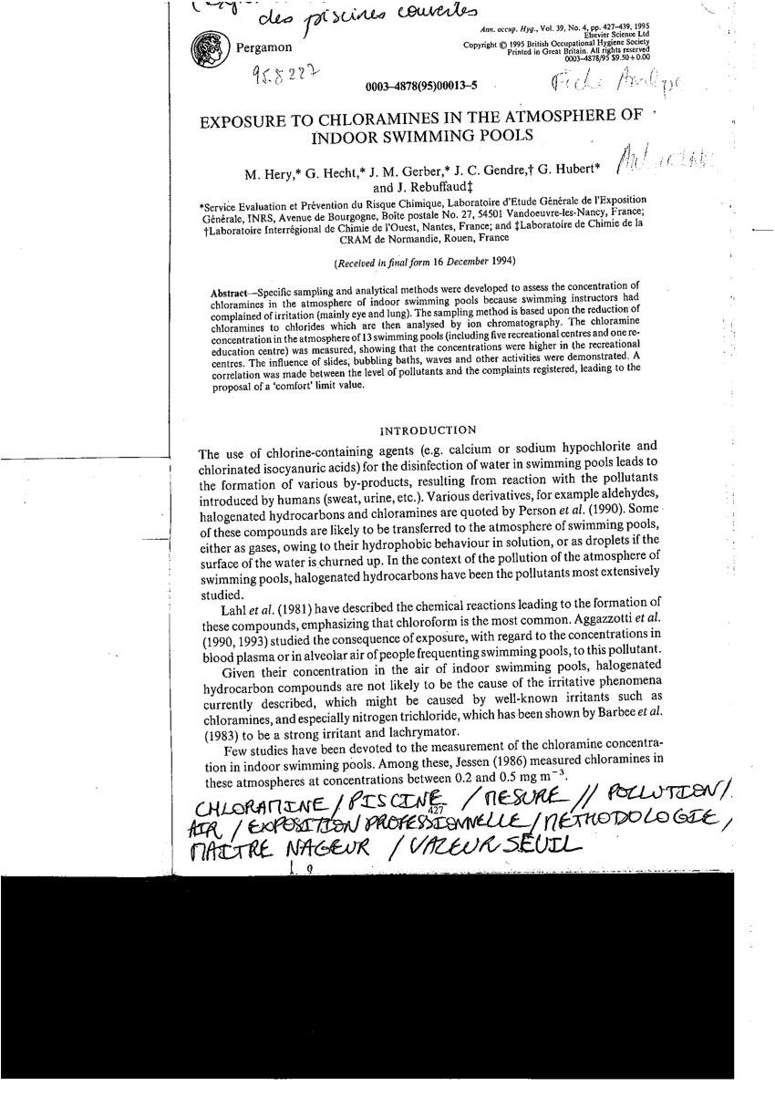 Pdf) Exposure To Chloramines In The Atmosphere Of Indoor ... concernant Chloramine Piscine