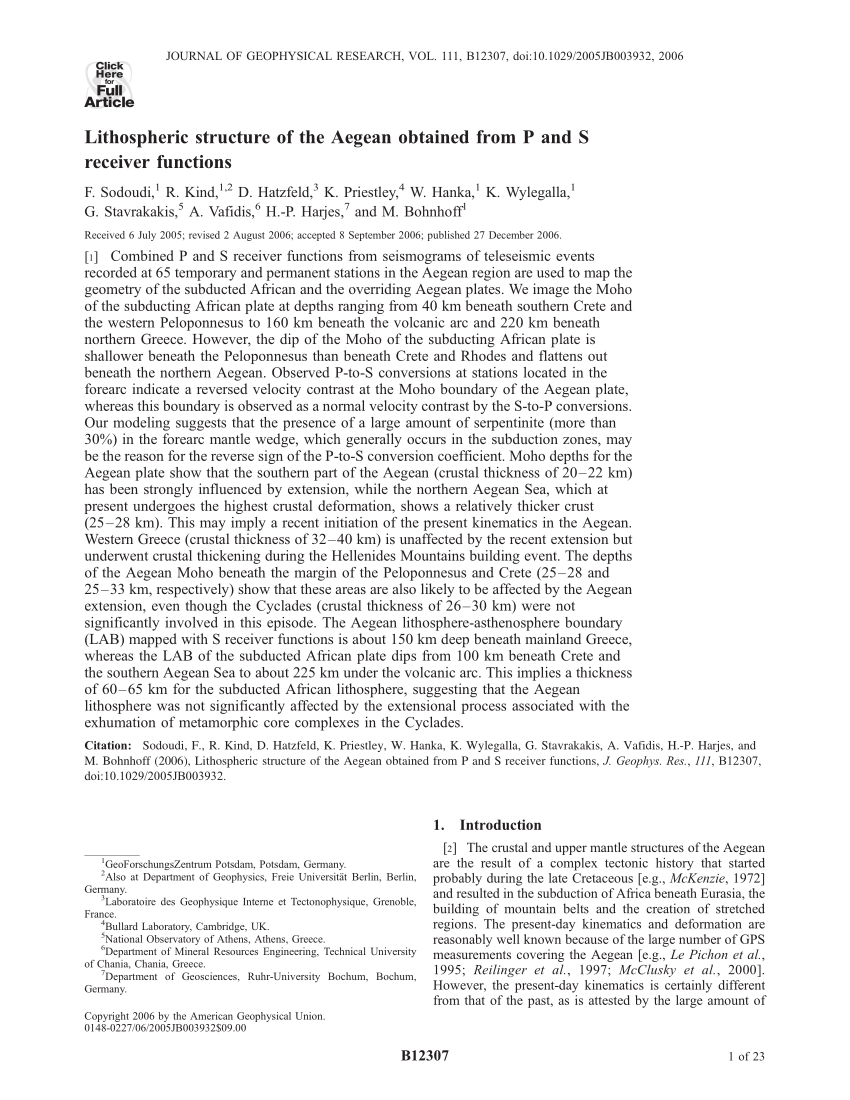 Pdf) Lithospheric Structure Of The Aegean Obtained From P ... tout Piscine Harjes