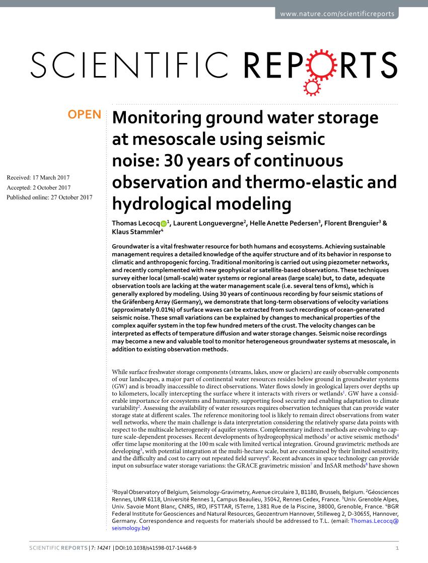 Pdf) Monitoring Ground Water Storage At Mesoscale Using ... destiné Piscine Harjes