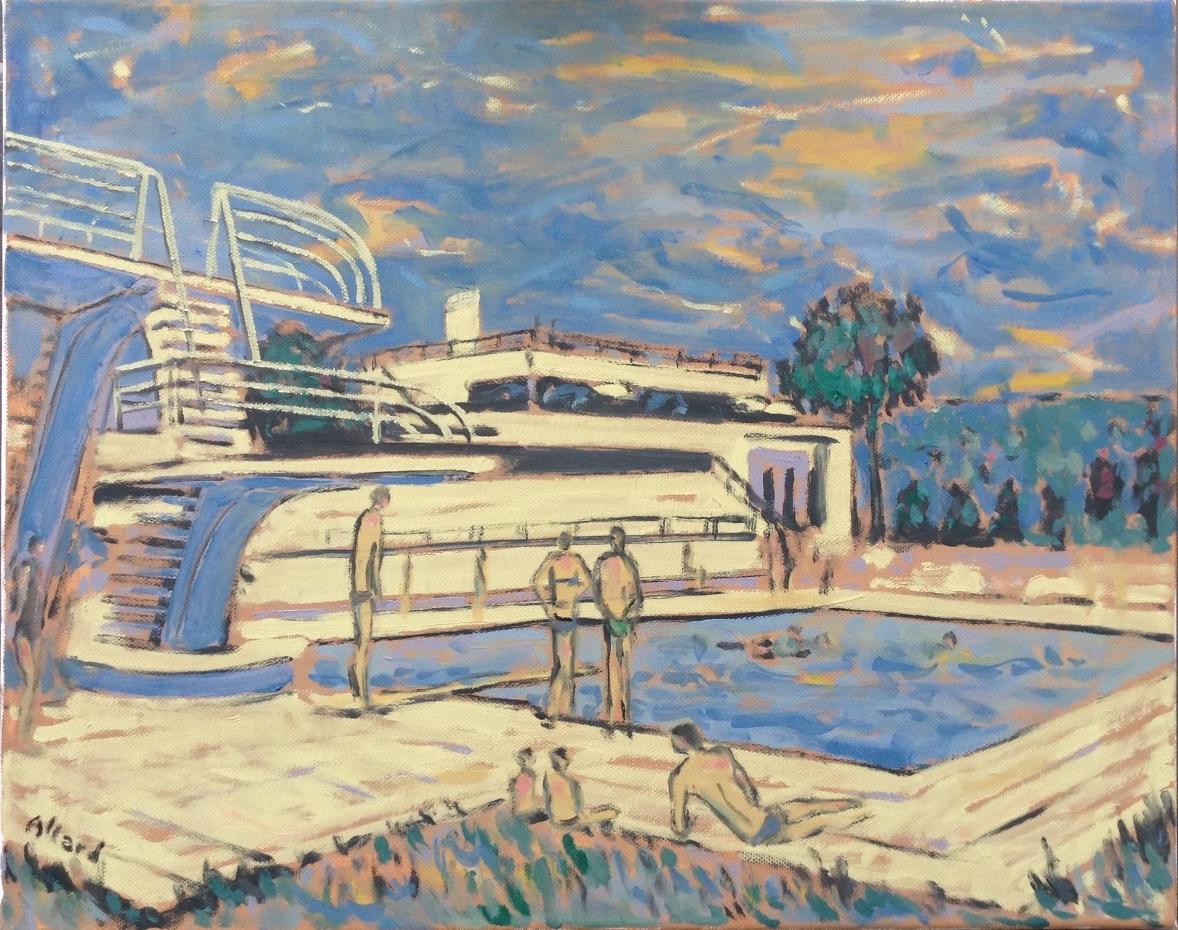 Peinture Piscine Jean Bouin, À Evreux (Collection Particulière) tout Piscine Jean Bouin Évreux