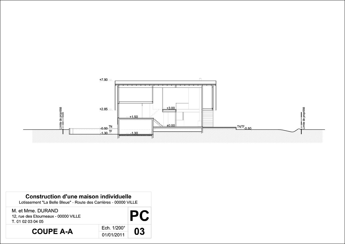 Permis De Construire • Mairie De Perrignier serapportantà Plan De Coupe Piscine