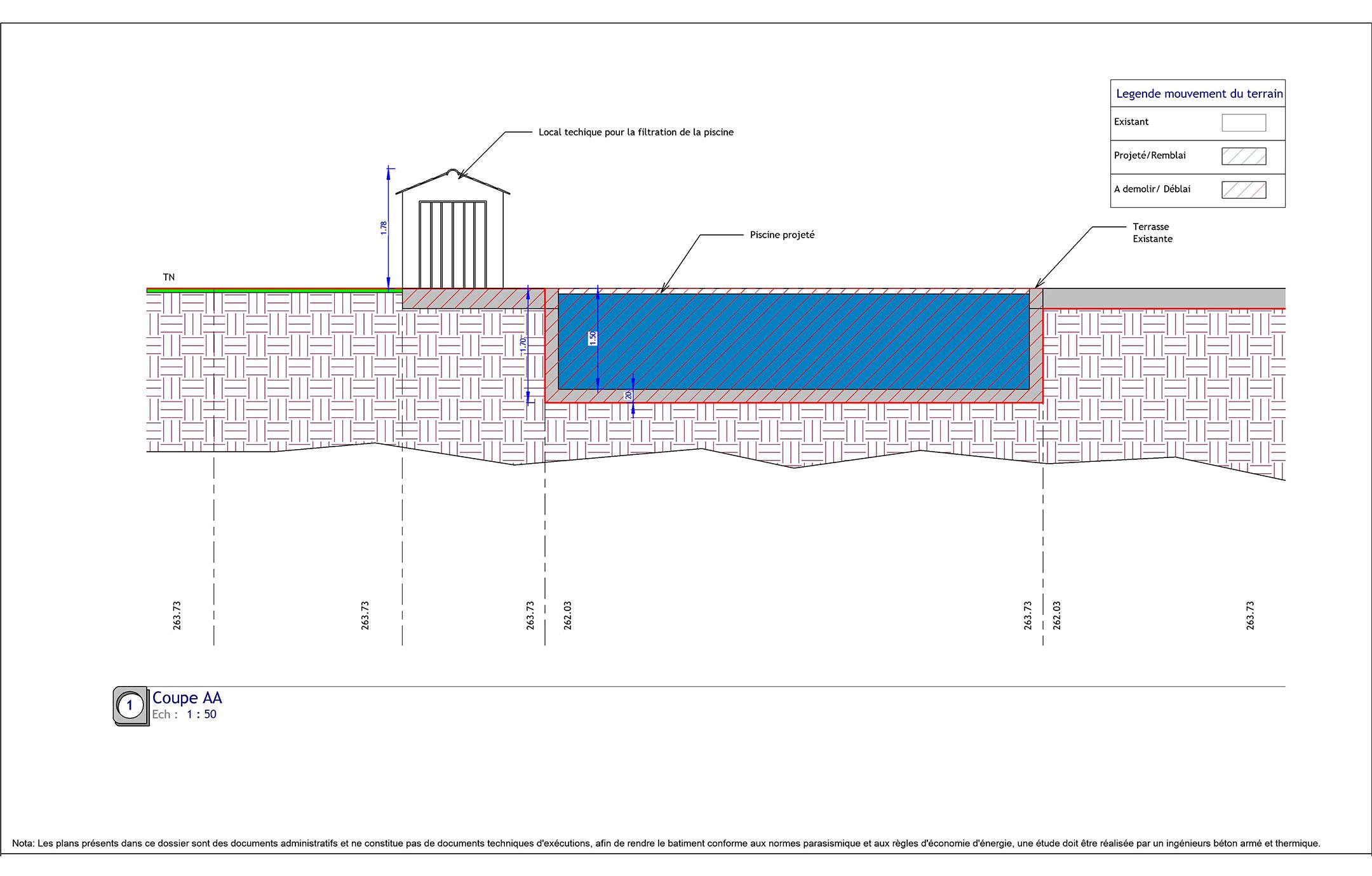 Permismairie - Construction Neuve dedans Plan De Coupe Piscine
