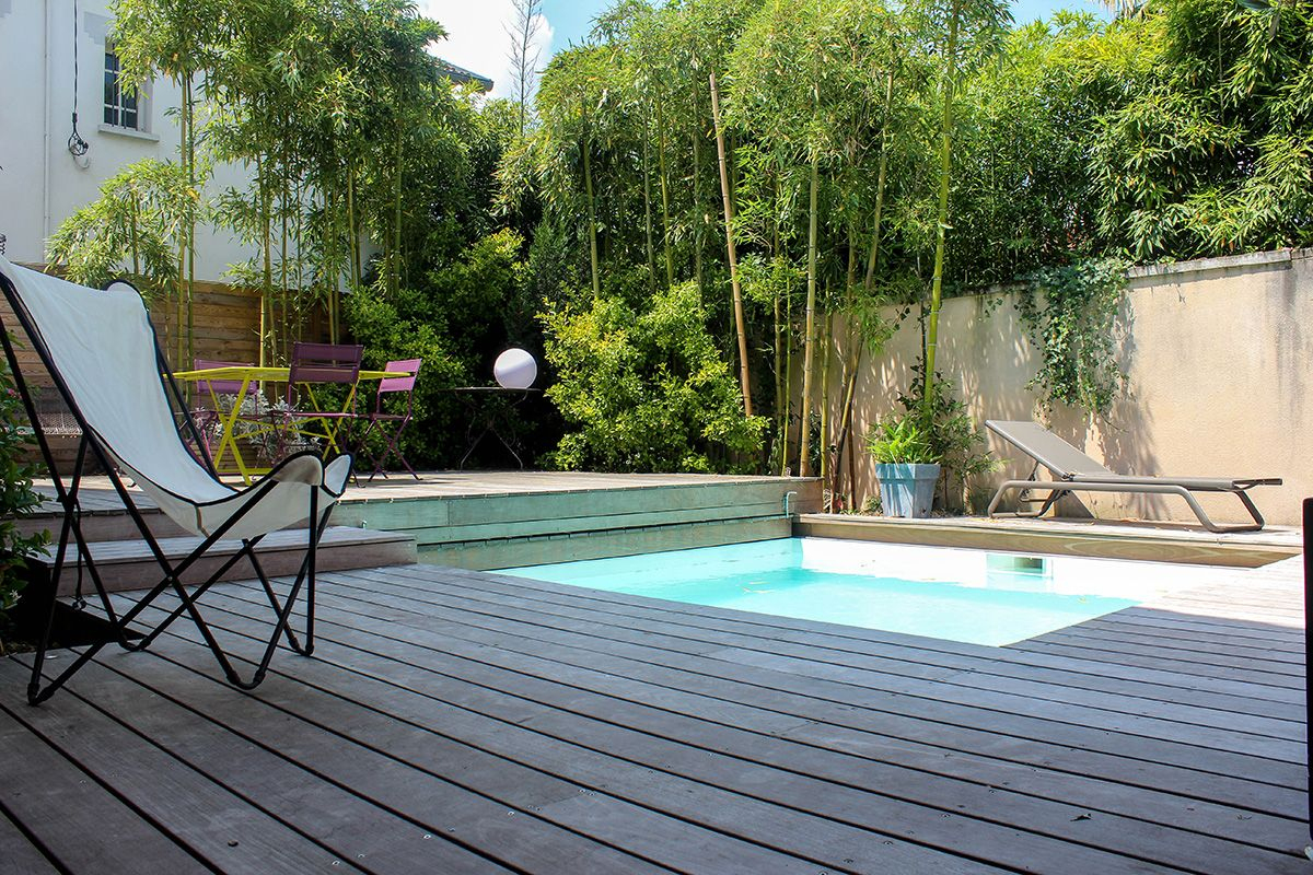 Petite Piscine Avec Bambous | Piscine, Terrasse Bois Piscine ... pour Piscine En Bois Leroy Merlin