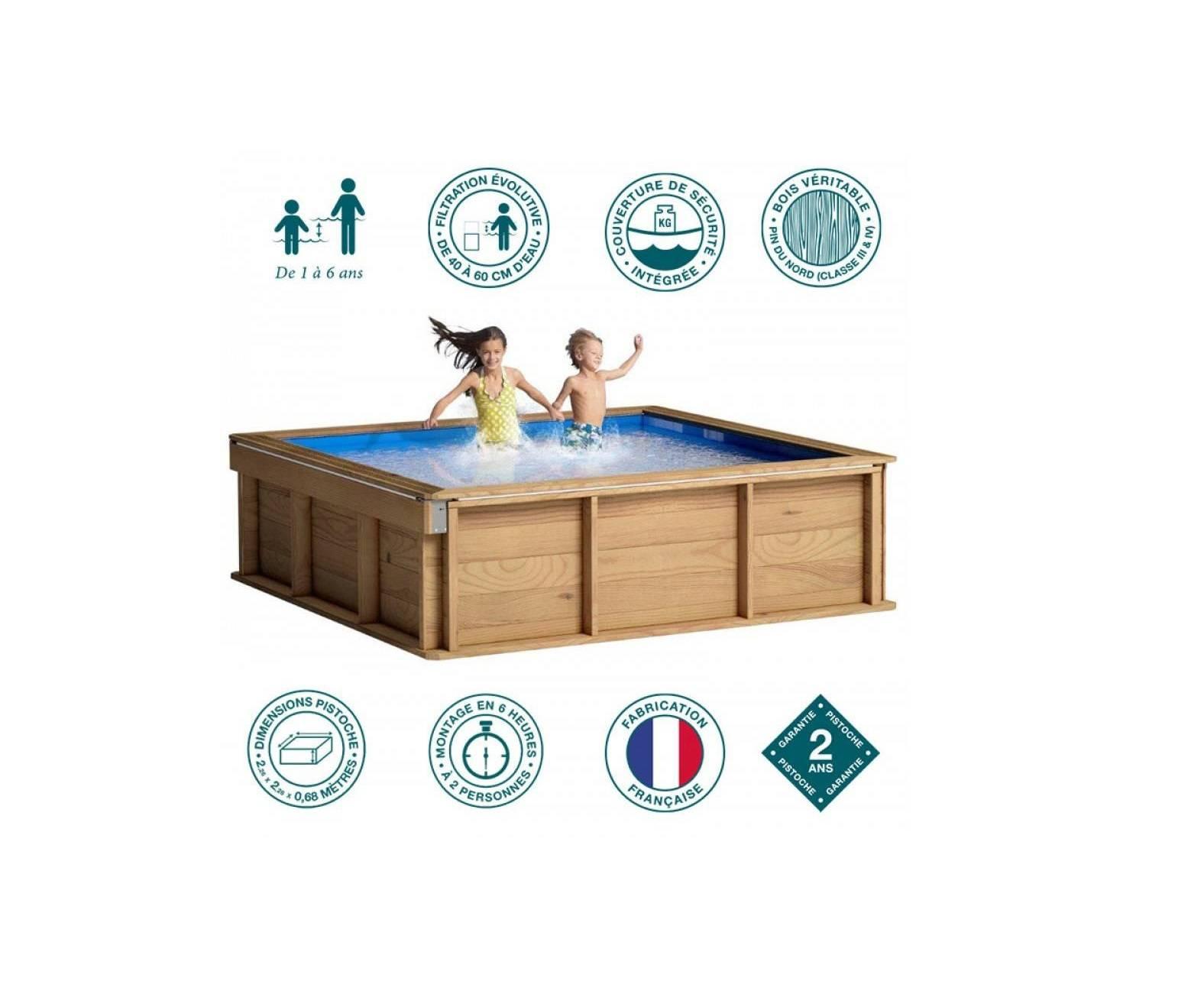 Petite Piscine Hors Sol Bois Carrée 2X2 Pour Enfants Piscine ... avec Piscine Enfant Pas Cher