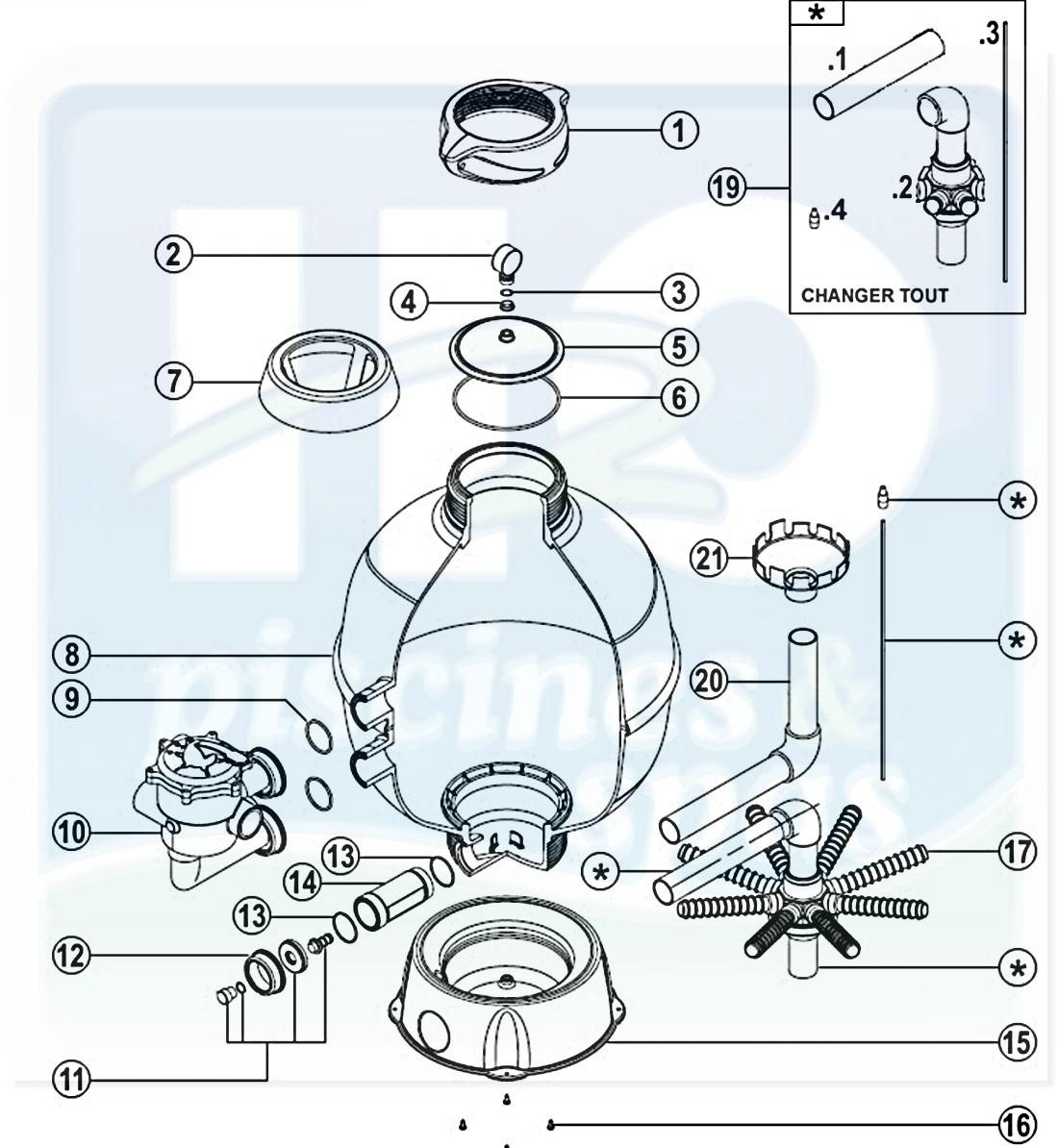 Pièces Détachées Piscines : Filtres À Sable Piscines, Espa ... destiné Pieces Detachees Pour Filtre A Sable Piscine