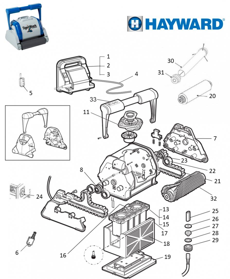 Pièces Détachées Pour Robots Piscines Hayward Tiger Shark ... intérieur Pieces Detachees Piscine
