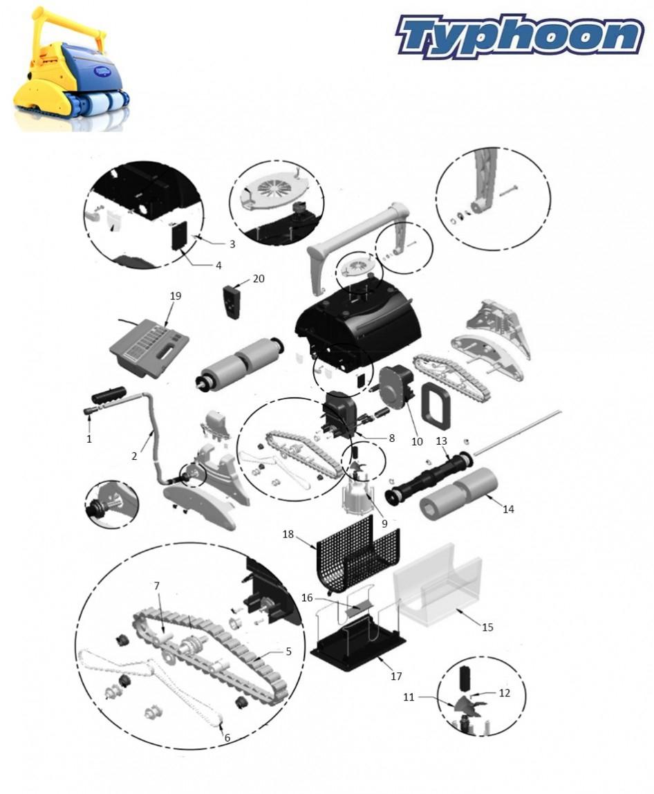 Pièces Détachées Pour Robots Piscines Typhoon Plus - Quimipool destiné Pieces Detachees Piscine