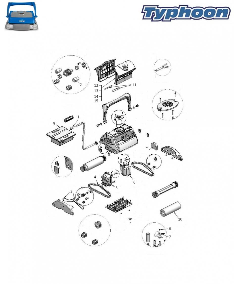 Pièces Détachées Robots Piscines Typhoon Junior Top - Quimipool dedans Pieces Detachees Piscine
