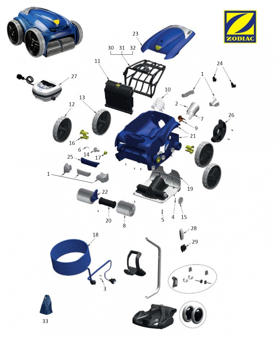 Pièces Détachées Zodiac Vortex 4 4Wd - Quimipool dedans Robot Piscine Zodiac Vortex 4