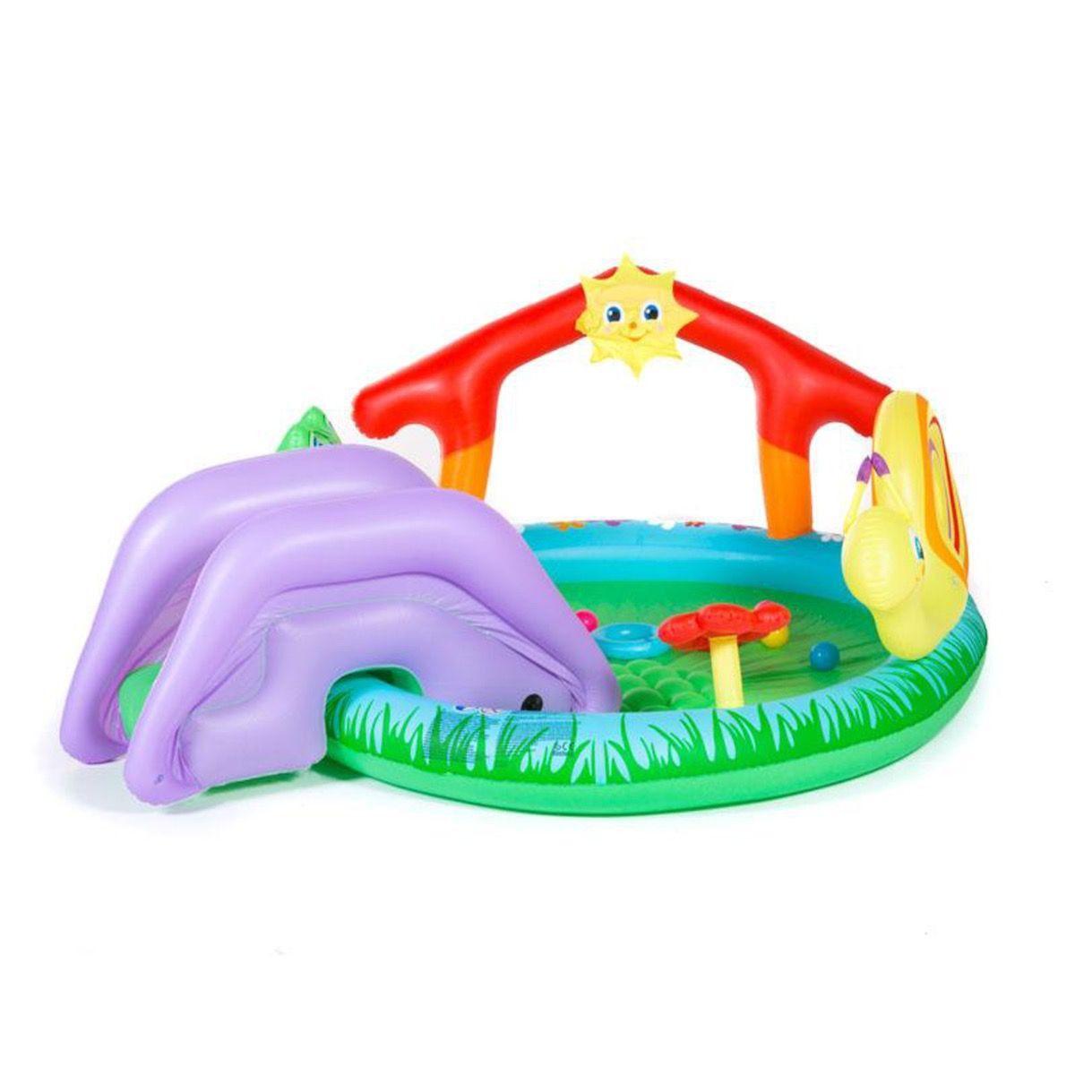 """Piscina Gonflabila Si Centru De Joaca Bestway """"play And Grow Pool"""" Pentru  Copii Cu Pulverizator De Apa Si Tobogan Detasabil 144L à Tobogan Piscine"""