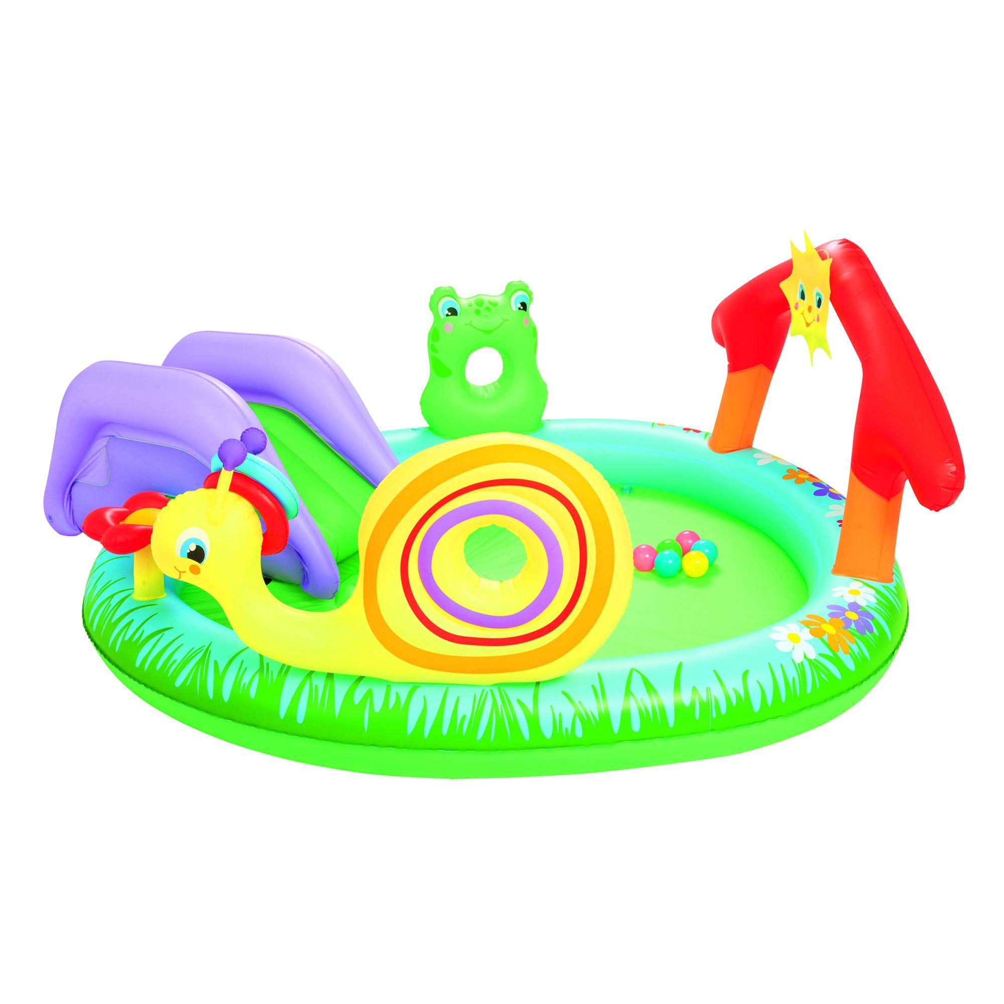 """Piscina Gonflabila Si Centru De Joaca Bestway """"play And Grow Pool"""" Pentru  Copii Cu Pulverizator De Apa Si Tobogan Detasabil 144L pour Tobogan Piscine"""