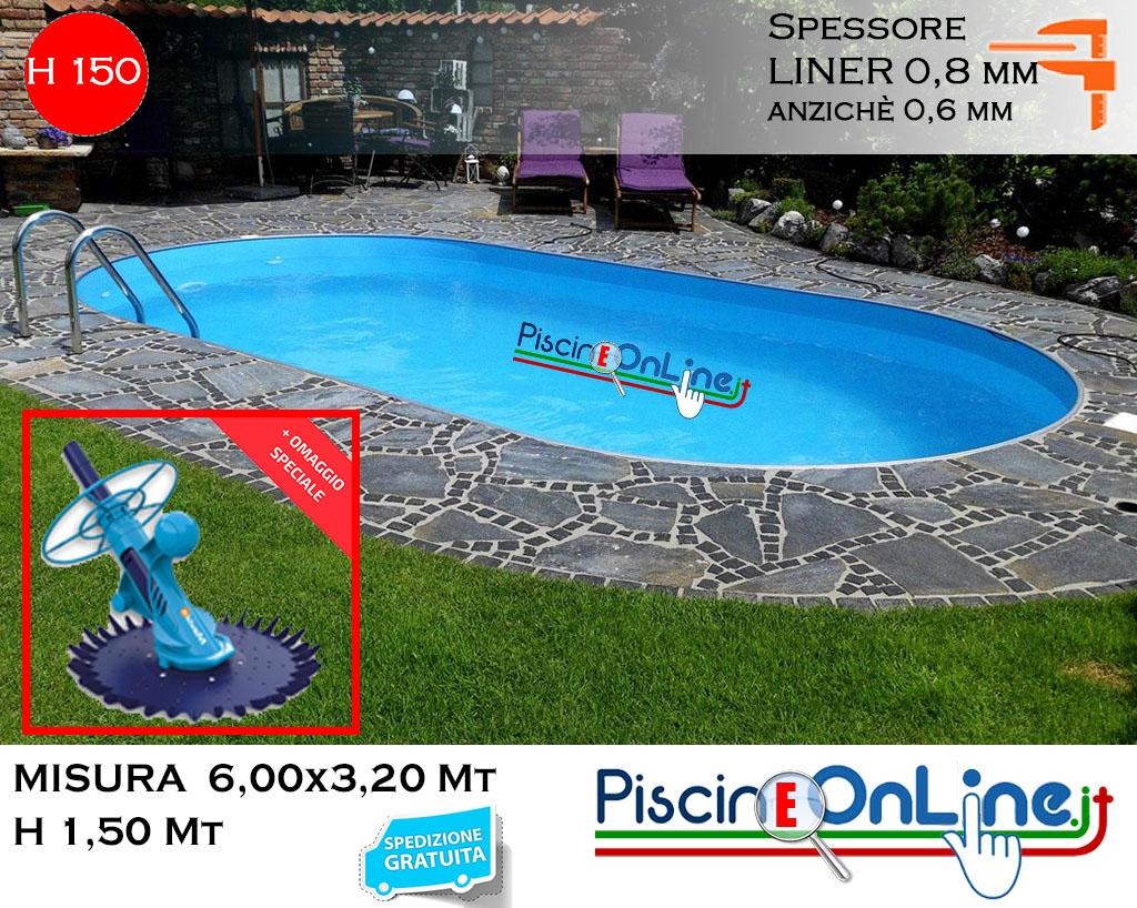 Piscina Interrata 6.00X3.20 Altezza H 1.50 Mt Modello Pacific Ovale In  Lamiera destiné Piscine 3X2